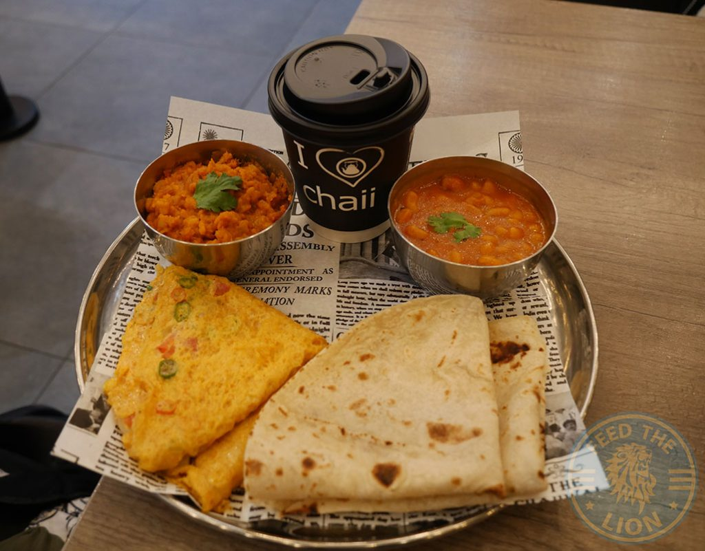 breakfast Chaii Wala Indian Halal restaurant Coventry Road Birmingham Desi Breakfast £4.95 - Masala omelette, masala beans or daal, two classic roti or toast and karak chaii