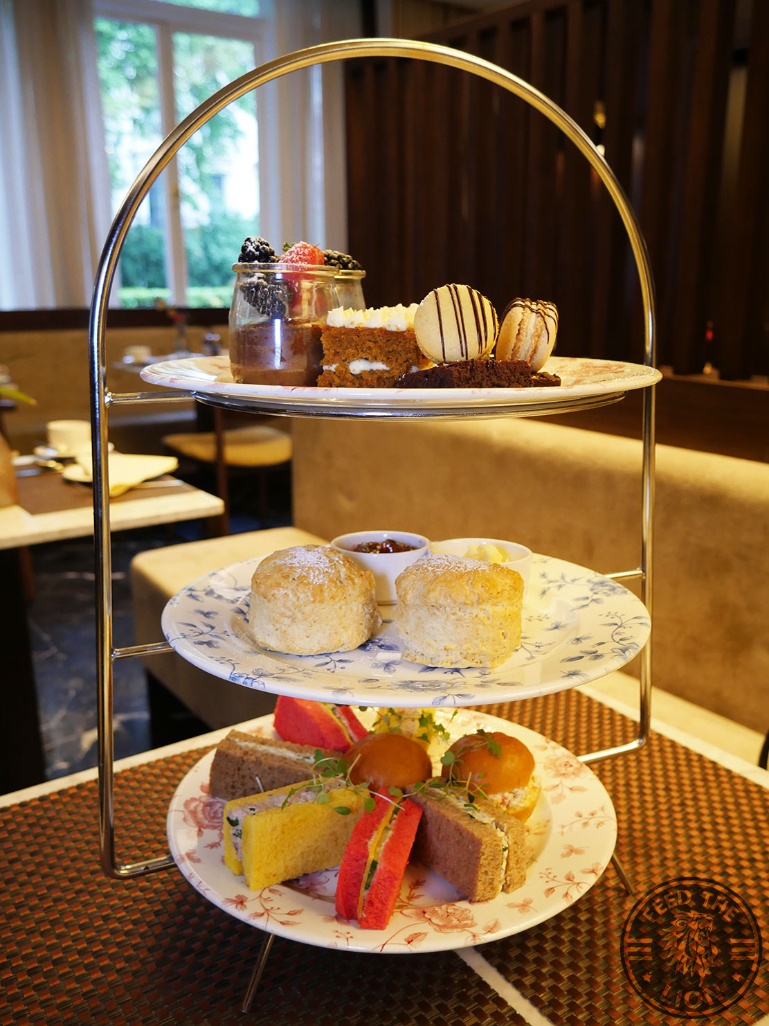 Halal English Afternoon Tea at The Chilworth Hotel Paddington<br>Tear 1: Chocolate moose, lemon tart, coffee eclairs, carrot and walnut cake, macarons.<br>Tear 2: plain scones.<br>Tear 3: Tuna mayo sandwich on carrot bread, hummus with cucumber and cheese in beetroot bread, egg & watercress sandwich on brown ray bread, chicken and pepper brioche.