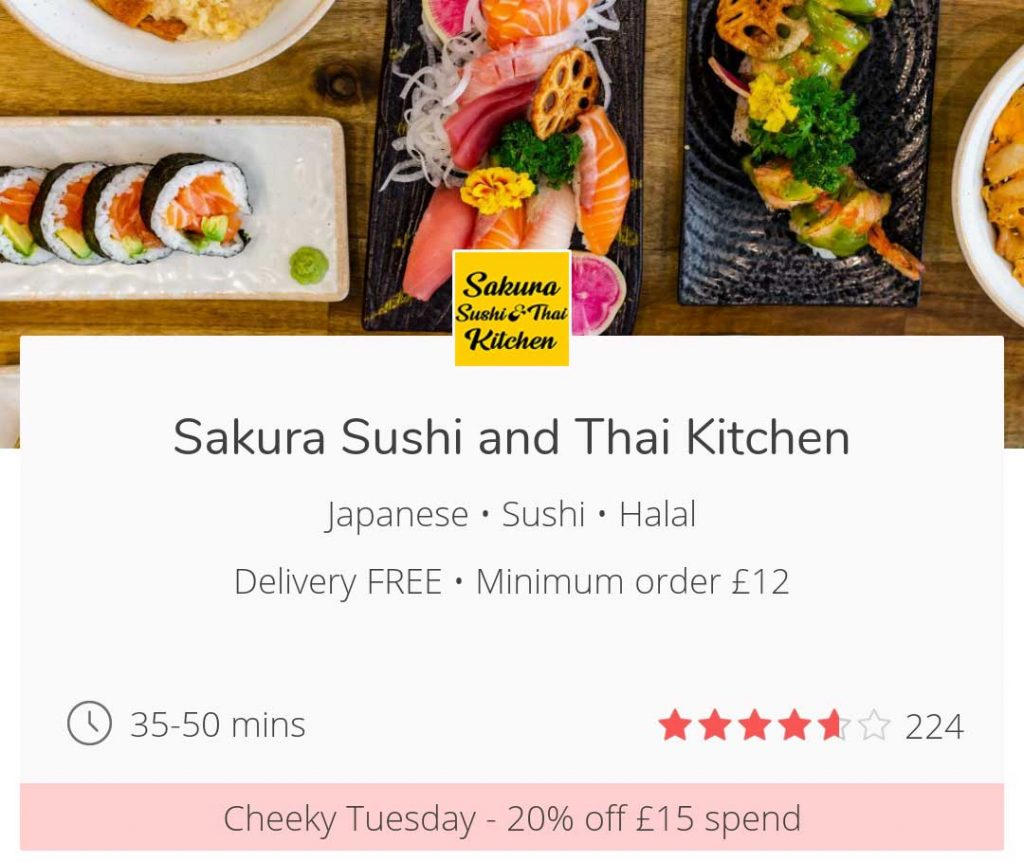 Cheeky Tuesdays get 20% off JustEat