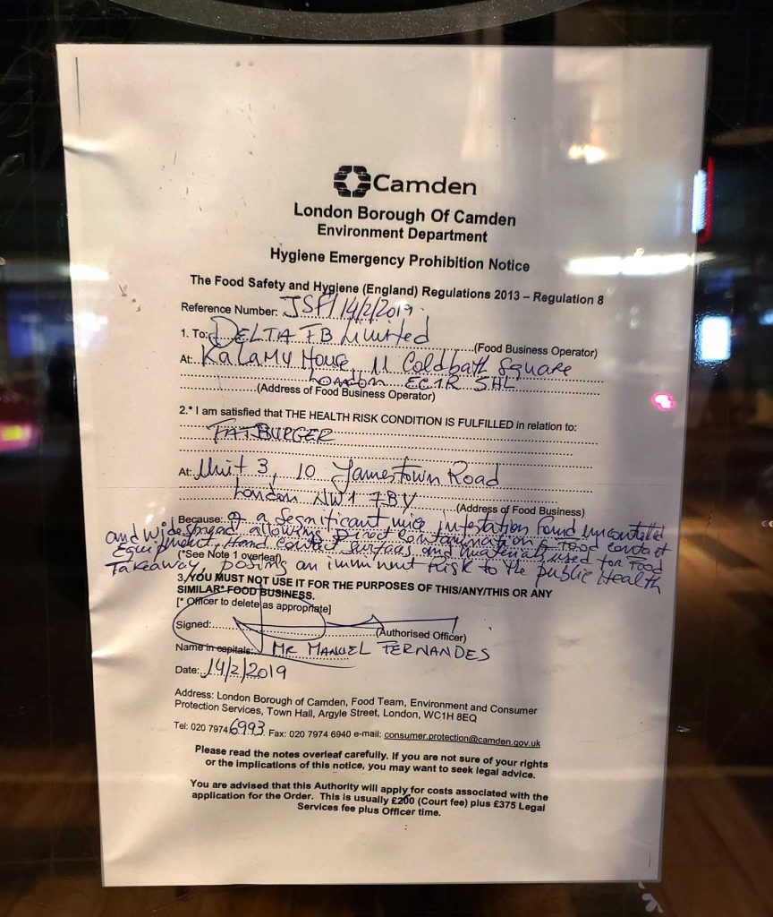 Fatburger Camden Environment Department Prohibition Notice