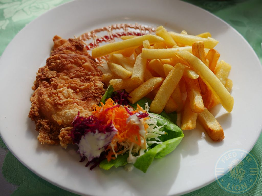 Pan fried chicken with french fries and salad