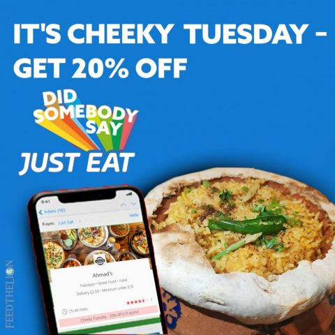 20% off Just Eat 'Cheeky Tuesdays' North & West London