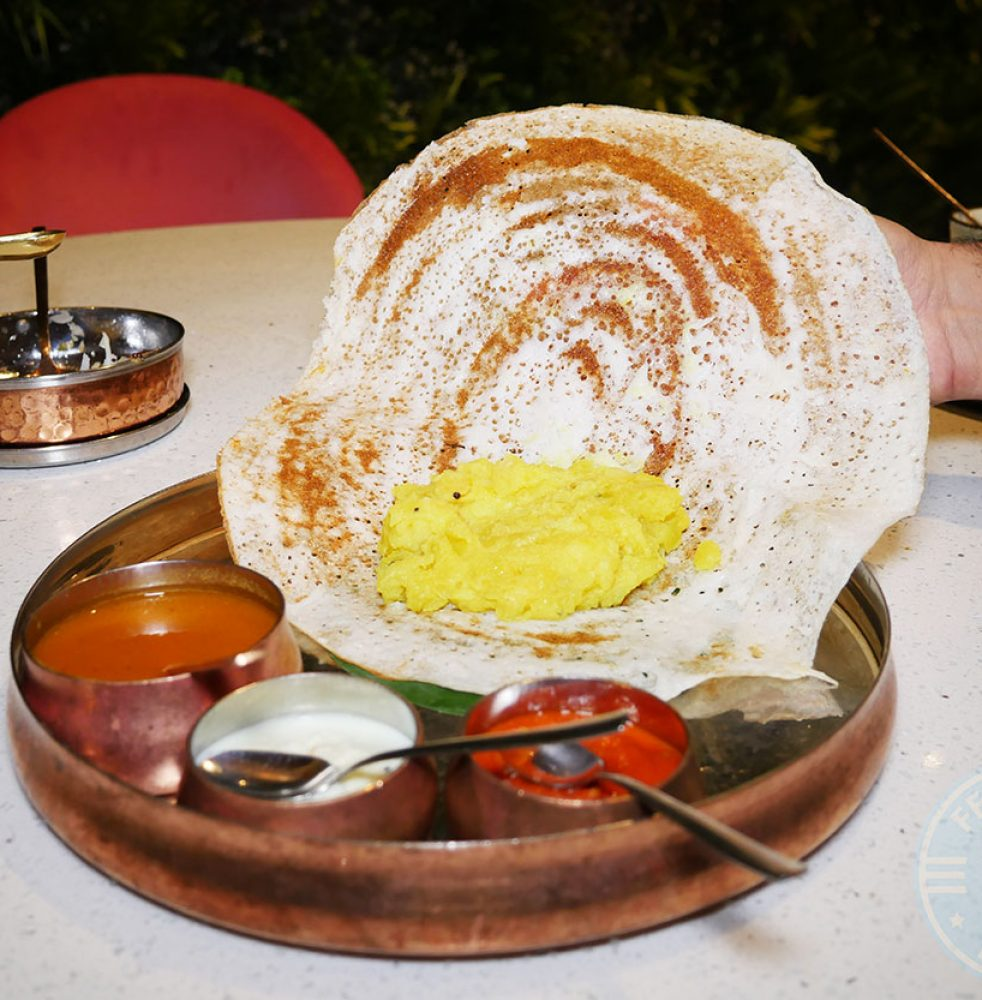 <strong>Eral Poriyal</strong> – stir-fried gunpowder shrimp dosa, £12.00