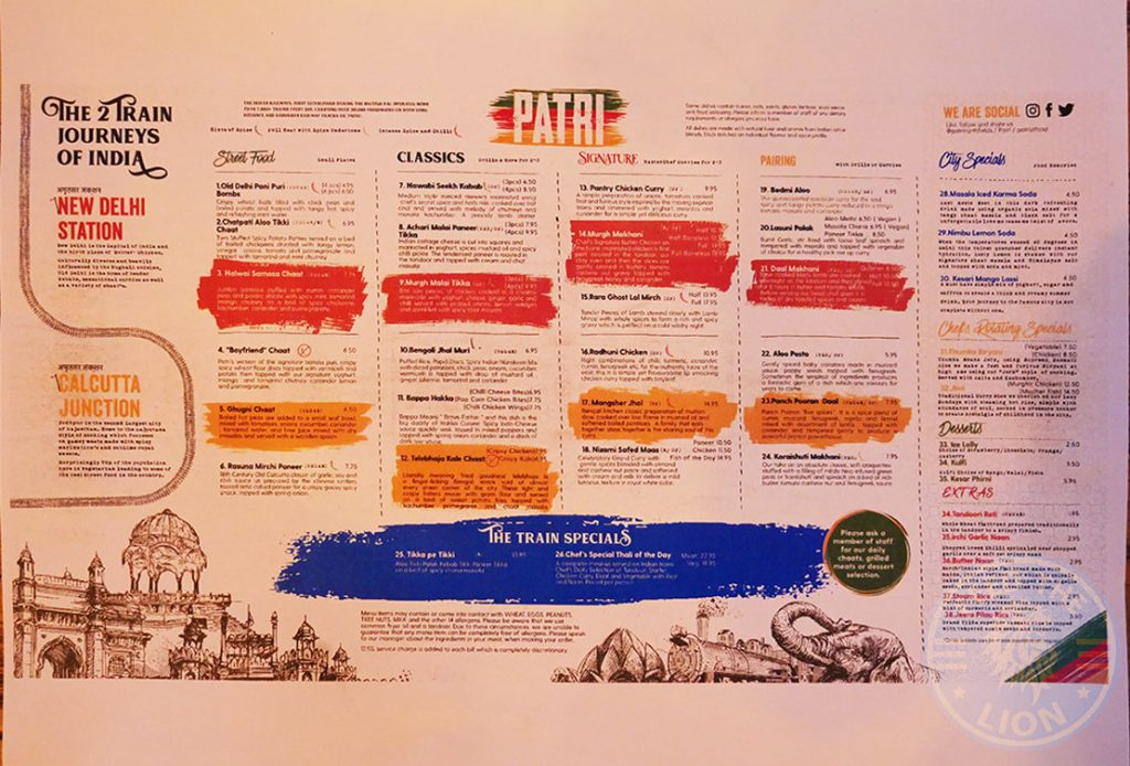 menu Patri Indian Halal restaurant Northfields London