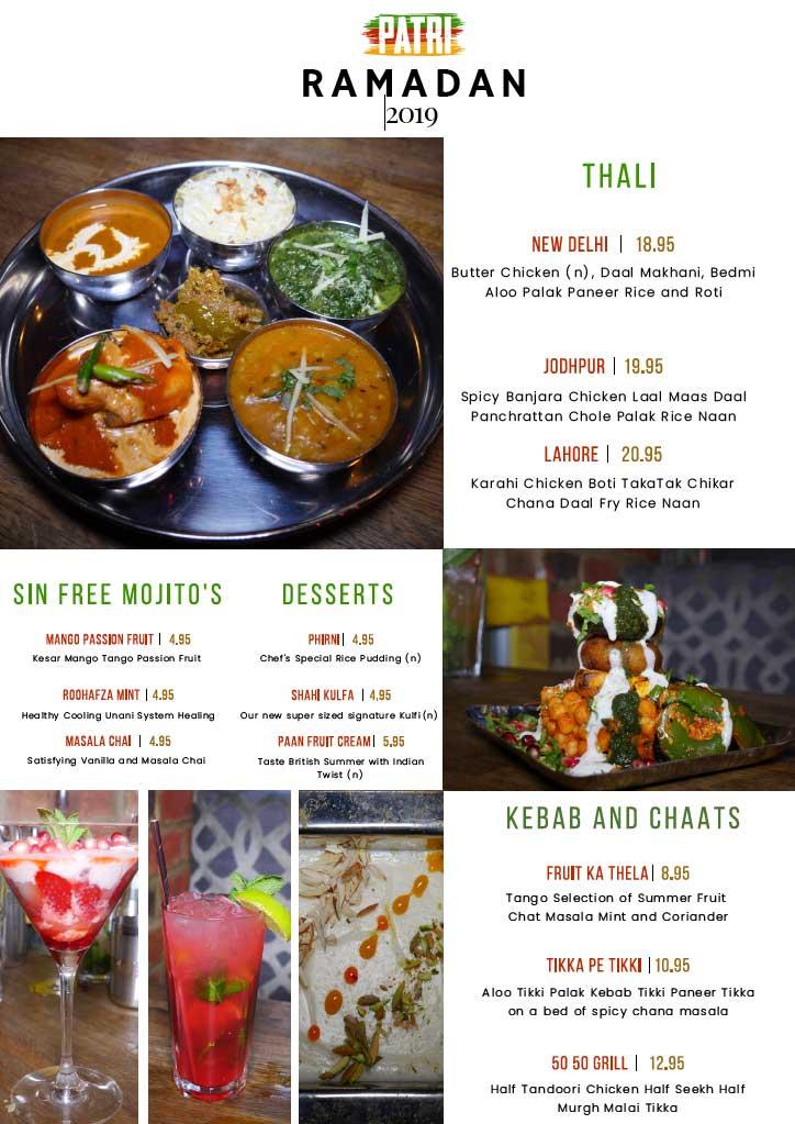 Patri Indian Restaurant Halal Hammersmith Ramadan menu