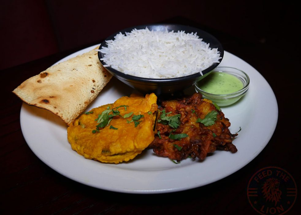 Rajas Dinner (with lamb, chicken, prawn £17 or veg £16) – Curry surved with rice, onion bahji, aubergine pakora, papadum and lime chutney