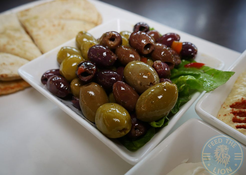 Mixed Dip Platter – A variety of Mediterranean mezzes served with toasted pitta, £12.95