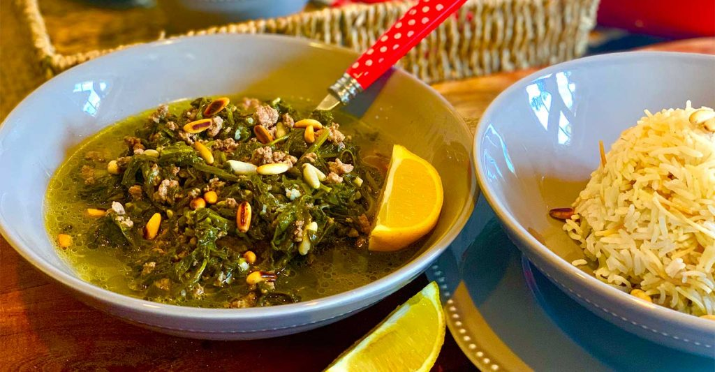 Spinach Stew and Vermicelli Rice