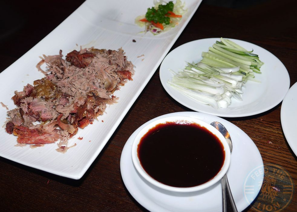 Quarter Crispy Aromatic Duck – With pancakes, sauce, cucumber & spring onions, £9.00
