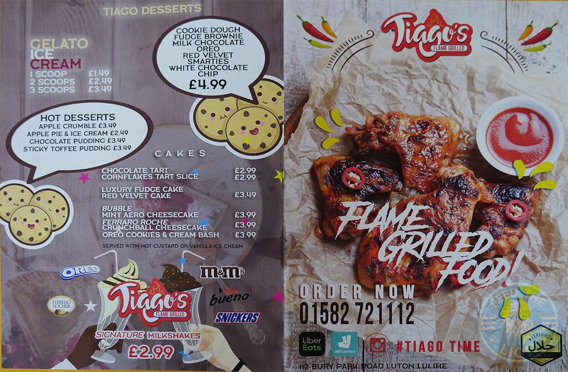 menu Tiago's Flame Grille - Luton Halal restaurant - Feed the Lion