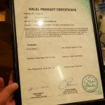 certificate Yen Burger Halal Japanese restaurant Southwark, London